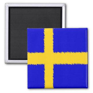 Bandera sueca imán cuadrado