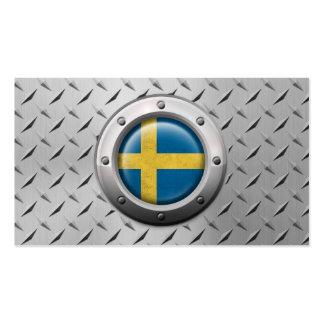 Bandera sueca industrial con el gráfico de acero tarjeta de negocio