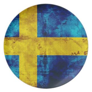 Bandera sueca platos para fiestas