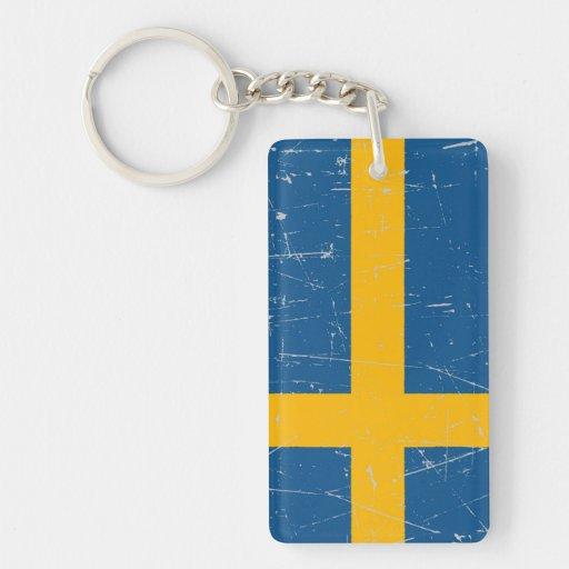 Bandera sueca rascada y rasguñada llaveros