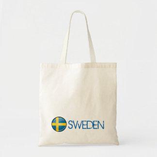 Bandera sueca redonda brillante bolsa tela barata