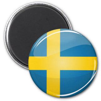 Bandera sueca redonda brillante imán redondo 5 cm