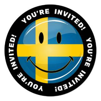 """Bandera sueca sonriente invitación 5.25"""" x 5.25"""""""