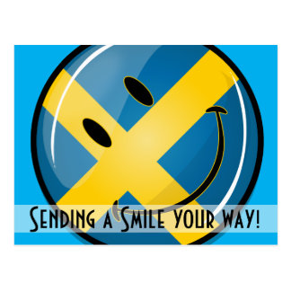 Bandera sueca sonriente tarjetas postales