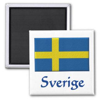 Bandera sueca Sverige Imán Cuadrado