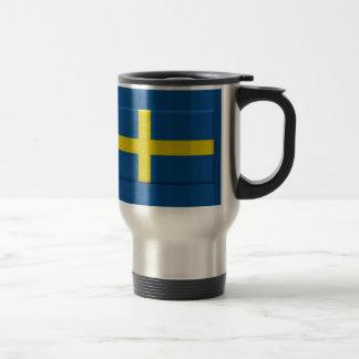 Bandera sueca taza de viaje de acero inoxidable