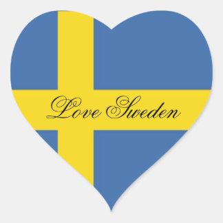 Bandera Suecia-Sueca del amor Colcomanias De Corazon Personalizadas