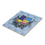 Bandera Sueco-Americana del escudo Azulejo Cerámica
