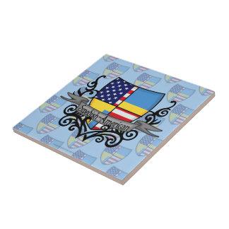 Bandera Sueco-Americana del escudo Azulejo Cuadrado Pequeño