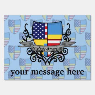 Bandera Sueco-Americana del escudo Cartel