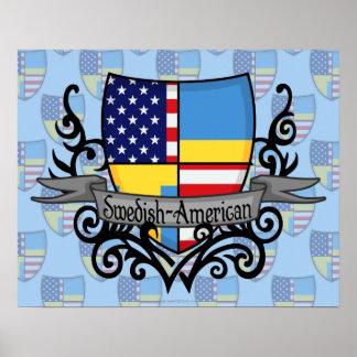 Bandera Sueco-Americana del escudo Impresiones