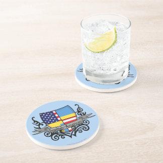 Bandera Sueco-Americana del escudo Posavaso Para Bebida