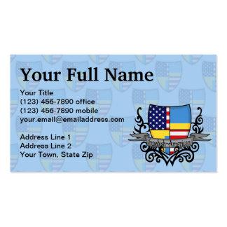 Bandera Sueco-Americana del escudo Tarjeta De Visita
