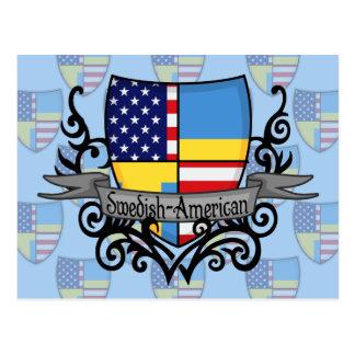Bandera Sueco-Americana del escudo Tarjeta Postal