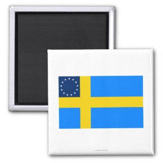 Bandera Sueco-Americana Imán Cuadrado