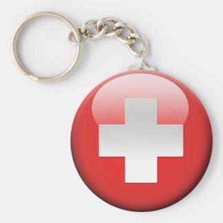 Bandera suiza 2,0 llavero redondo tipo pin