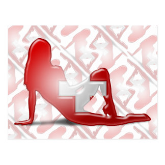 Bandera suiza de la silueta del chica tarjeta postal