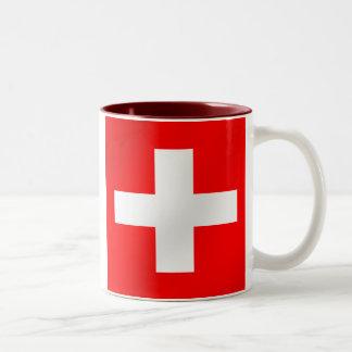 Bandera suiza de los regalos de Suiza Suisse Taza De Dos Tonos