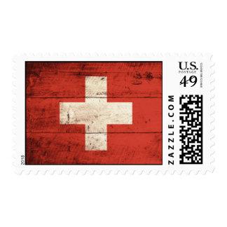 Bandera suiza de madera vieja estampilla