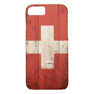 Bandera suiza de madera vieja funda iPhone 7