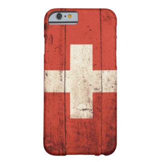 Bandera suiza de madera vieja funda para iPhone 6 barely there