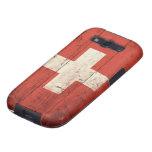 Bandera suiza de madera vieja galaxy s3 protector