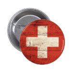 Bandera suiza de madera vieja pin redondo 5 cm