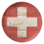 Bandera suiza de madera vieja platos para fiestas