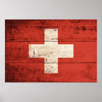 Bandera suiza de madera vieja poster