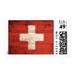 Bandera suiza de madera vieja sellos