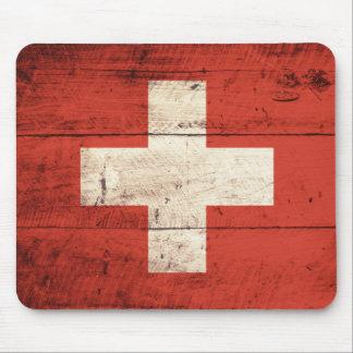 Bandera suiza de madera vieja tapetes de ratón