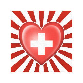 Bandera suiza del corazón con la explosión de la e impresión en lona estirada