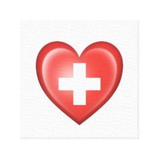 Bandera suiza del corazón en blanco impresión en lona