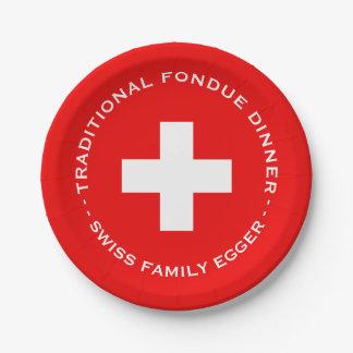 """Bandera suiza del fiesta de la """"fondue"""" de la plato de papel de 7 pulgadas"""
