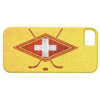 Bandera suiza del hockey sobre hielo iPhone 5 Case-Mate protectores