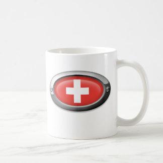 Bandera suiza en el marco de acero taza de café