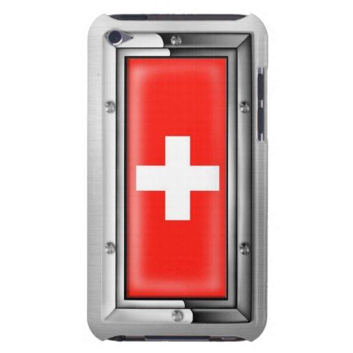 Bandera suiza en un marco de acero iPod Case-Mate protector