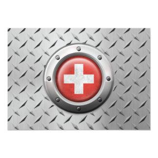 Bandera suiza industrial con el gráfico de acero comunicado