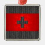 Bandera suiza nerviosa moderna ornamentos de reyes magos