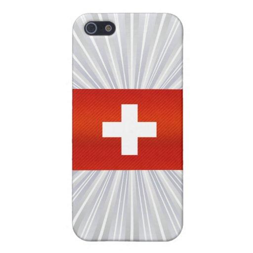 Bandera suiza pelada moderna iPhone 5 carcasas