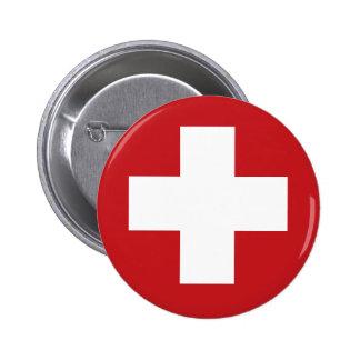 Bandera suiza pin redondo de 2 pulgadas