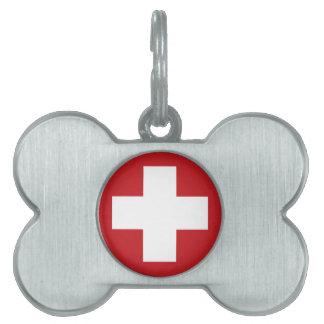 Bandera suiza placas de nombre de mascota