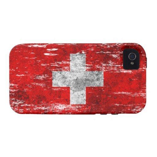 Bandera suiza rascada y llevada Case-Mate iPhone 4 fundas