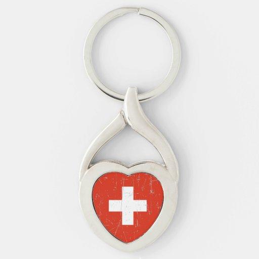 Bandera suiza rascada y rasguñada llaveros