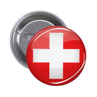 Bandera suiza redonda brillante pin redondo 5 cm