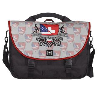 Bandera Suizo-Americana del escudo Bolsas Para Ordenador