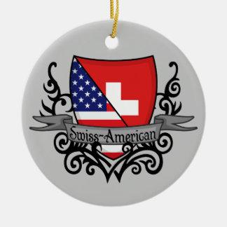 Bandera Suizo-Americana del escudo Ornato