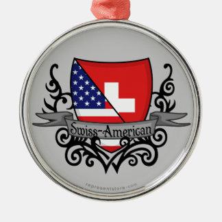 Bandera Suizo-Americana del escudo Adorno Redondo Plateado