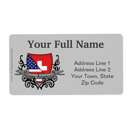 Bandera Suizo-Americana del escudo Etiquetas De Envío