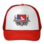 Bandera Suizo-Americana del escudo Gorros